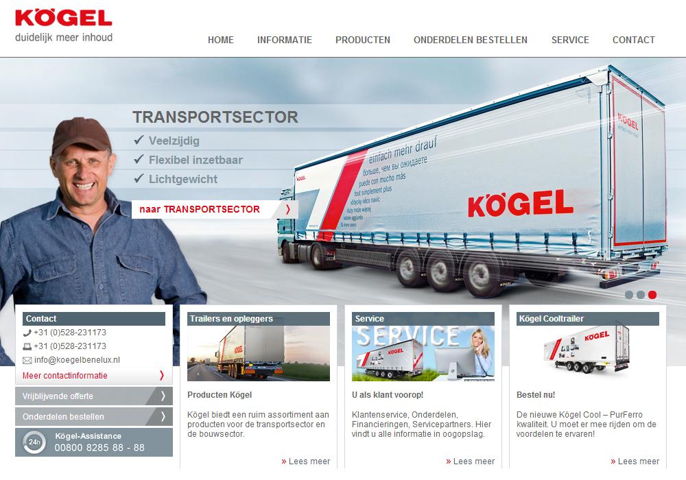 Website Kögel Benelux